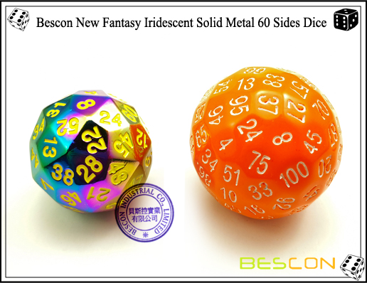 Bescon New Fantasy Iridescent Solid Metal 60 Sides Dice-4