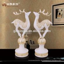 Alibaba Versicherung dekorative moderne neue Stil Gold Silber Hirsch Harz Hirsche Tier Statue