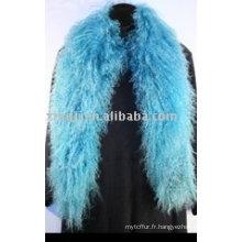 Echarpe d'agneau mongole teinte en bleu