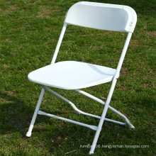 White Plastic Folding Chair with Steel Frame