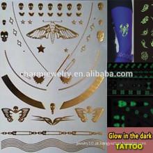 OEM marcas de moda por atacado brilham na etiqueta tatuagens temporária escuro para adultos GLIS001