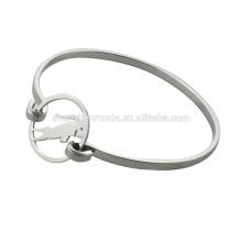 Forme los brazaletes del acero inoxidable con la vaca de plata para las mujeres, RD-1010