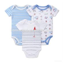 Fornecimento chinês Bebê meninos Recém-nascido Dos Desenhos Animados Macacão de Roupas Bodysuit Conjuntos de Macacão Infantil Stripe Outfit Romper Roupas de Bebê