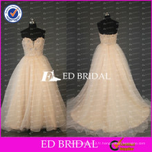 2017 ED Bridal Nouveaux Designs Sweetheart Beaded Lace Appliqued Bodice Robe de bal Organza Wedding Gown