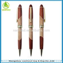 Alta qualidade promocionais caneta esferográfica madeira com caneta metal reencher