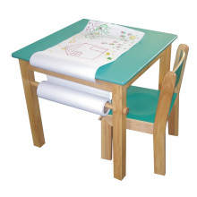 Wooden Square Table with Roller Paper