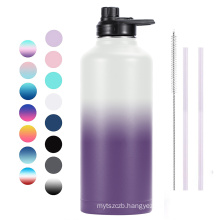 80oz Double Walled Wide Mouth Stainless Steel Vacuum Flask Sports Water Bottle with Flex Lid