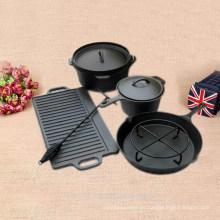 6 piezas de hierro fundido sano cocinar no esmalte en la puerta o fuera de juego de utensilios de cocina
