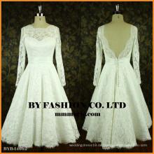 Einfache lange Hülsenhochzeitskleid Spitze-geöffnetes rückseitiges Brautjunferkleid Spätes kurzes Kleid