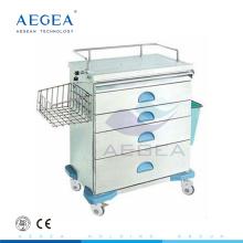 AG-AT019 Clínica de grado superior móvil con ruedas Carro médico de anestesia hospitalaria