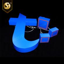 Nom du magasin de comptoir bleu Lettres rétro-éclairées en 3D éclairées