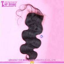 Populaire en soie base vague péruvienne cheveux vierge 100 % dentelle fermeture vente chaude vierge péruvienne cheveux dentelle fermetures sur le corps