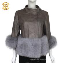 Proveedor de China Chaqueta corta de cuero con abrigo de pieles de Fox