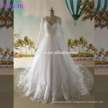Long Sleeves Wedding Dresses with Beaded Sash High Quality Tulle Vestidos De Lace Wedding Gown