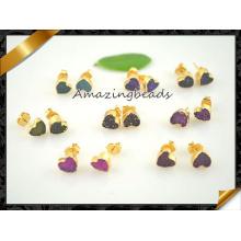 Accessoires de bijoux de mode Geode Druzy Drusy Heart Stud Earring (FN077)