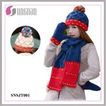 2015 Invierno caliente sombrero de lana sombreros guantes de tres piezas conjunto (SNSJT001)