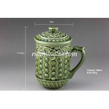 «Живой фарфор» Зеленый кружевной кружка с чаем, 400cc / кружка
