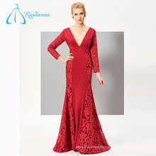 Red V Neck Spandex Lace Mother Of The Bride Dress With Sleeves