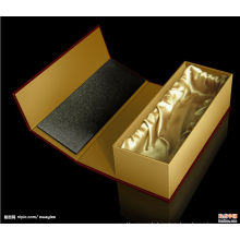 Black Cardboard Single Wine Bottle Gift Box Wholesale with Foam Insert