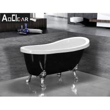 Aokeliya luxury acrylic black freestanding bathtub with four legs high-quality soaking clawfoot bathtub