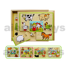 Wooden Puzzles in Wooden Box (4PCS/set)