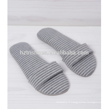 Tissu en coton ouvert toe slipper slip sur femme chaussures intérieures rayure tissu chambre pantoufle