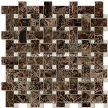 Dark Emperador Mix Crema Marfil Stone Mosaic (HSM129)