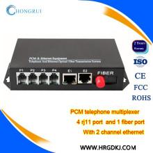 Telefones de telecomunicação multiplexador de voz fxs / fxo potenciômetros multiplexador de fibra ethernet para conversor de telefone