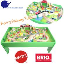 80 PC Kinder DIY glückliches Spiel-hölzerner Zug-Eisenbahn-Spielzeug-Spiel-Tabelle