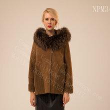 Rib Sleeve Kopenhagen Fur Hooded Short Jacket