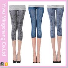 2016 Летняя эластичная талия Тощие джинсовые брюки с семью штанами