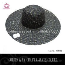 Ladies Summer hat conception de mode noire avec un fil d'or