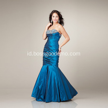 Elegan Mermaid Sayang garis leher Strapless Lantai-panjang Satin Mengacak-acak Beading Evening Dress