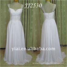 JJ2530 Newest Free Shipping Beaded Cap Sleeves Beach Chiffon Wedding Dress 2011