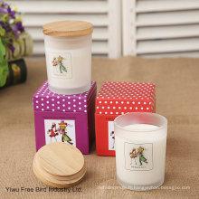 Bougies en verre parfumé avec couvercle en bois de couleur blanche