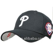 black basebal cap with white logo embroidery