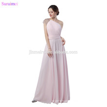 Light Pearl Pink Evening Dresses Chiffon Beaded One Shouler Strap Floor Length Elegant Long Evening Gown