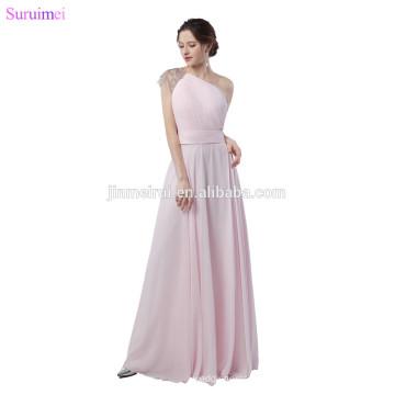 Light Pearl Pink Evening Dresses Chiffon Beaded One Shouler Strap Floor Length Elegant Long Evening Gown