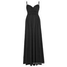 Kate Kasin Sexy Womens Comfortable Spaghetti Straps V-Neck Black Maxi Maternity Dress KK000674-1