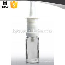 Botella cuentagotas de vidrio de 15 ml con pulverizador nasal