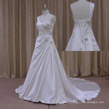 Мерцающая Вышивка Vneck Спинки Дешевые Атласная Свадебное Платье