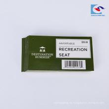 Papel de asiento de recreación hecho a mano impreso a mano colgar etiquetas de venta de etiqueta