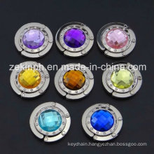 High Quality Zinc Alloy Bag Hanger with Big Colorful Rhinestones for Souvenir Gifts
