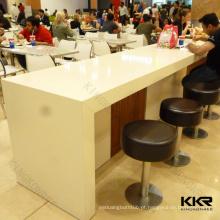 Mesa de jantar pública em U em forma de branco, mesa de jantar em superfície sólida