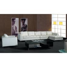 Durable sofá de sala de estar de marco de metal blanco de cuero KW357