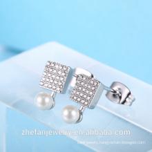 latest design stud earring pearl earring square shape cz earring