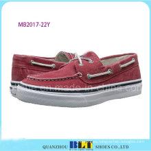 Zapatos de barco de ocio rojo para hombres