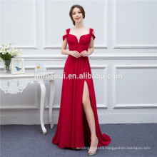 Chiffon Long Events Prom Dresses V neck Sexy Side Slit Cap Sleeve Red Prom Dresses Evening Dress Free Shipping Real Samples
