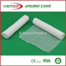HENSO Elastic Bleached Cotton Gauze Bandage With Woven Edge