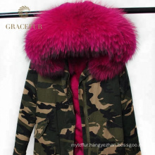 Best supplier winter woman parka real fur army green military parka jacket from China